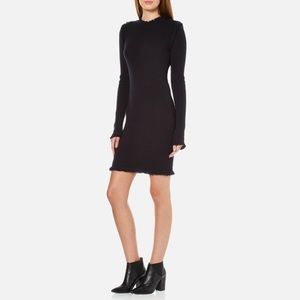 Long-Sleeve Fine Fringe-Trim Ribbed Sweaterdress